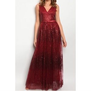 Red Glitter Holiday Dress